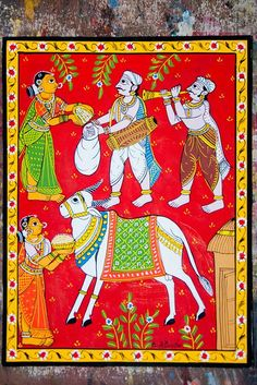 A scroll showing, people worshiping cow and offering grains as a ritual. Cheriyal painting, telangana