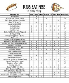 61 Best Where Kids Eat Free Images On Pinterest Free Kids Meals