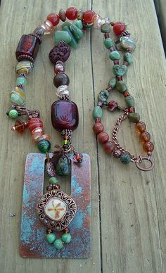Bohemian Gypsy Art Necklace, Mixed Gemstone, Pendant, Copper Accents