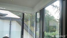 Sliding Door Window Treatments, Sliding Door Blinds, Sliding Glass Door, Blinds And Curtains Living Room, Sunroom Blinds, Sunroom Windows, House Extension Design, House Design, Modern Window Design