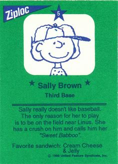 Ziploc Peanuts All Stars Cards - Sally