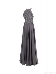 Elegant New Arrival A-line Halter Sleeveless Floor Length Beading Long Prom Dresses Party Evening Dresses #simibridal #simibridal