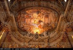 Ceiling painting and inscription Ego vobis Romae propitius ero or you will be favored in Rome in the Jesuit Church of Saint Ignatius of Loyola at Camp...