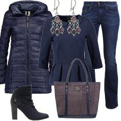 Per una donna giovane, che ama vestirsi alla moda ed essere sempre perfetta in ogni occasione i jeans sono un capo irrinunciabile. Qui sono proposti nel modello bootcut, abbinati ad una blusa con colletto e manica a 3/4. un paio di tronchetti con tacco alto e una borsa a righe. Completano la composizione un piumino blu ed un paio di orecchini.