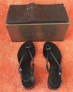 GUCCI BLACK PATENT LEATHER THONG SANDALS HEELS SHOES 381/2 #GUCCI #THONG #Casual
