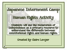 If you teach Social Studies, this can be used as a supplemental activity when discussing Japanese Internment camps and the violation of Japanese-American human and constitutional rights. '  If you are reading or plan to read Farewell to Manzanar, you can use this worksheet to see the internment of the Japanese and Jeanne from the point of view of human and constitutional legality of their internment.