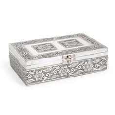 Boîte à bijoux en métal grise H 6 cm NANSANA