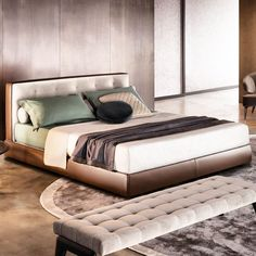 #MINOTTI2014Collection Essential and soft lines characterize the headboard of #BEDFORD bed. The base comes with removable cover available both in fabric and in leather. Ultimate comfort guaranteed!  @minotti_spa is NOW available exclusively through MOIE.