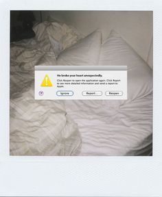 The Clothes Horse Human Error Polaroids P O L A R O I D - Artist inserts computer error messages into human lives