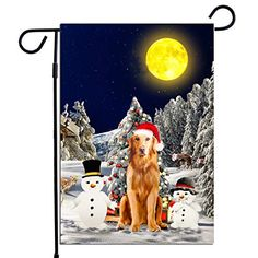 PrintYmotion Golden Retriever Dog with Snowman Christmas Holidays Garden Flag, Dog Lovers Gift (12 x 18 Inches) Print... #Golden Retriever #Dog Lovers gift #Christmas Gift #Christmas Flag