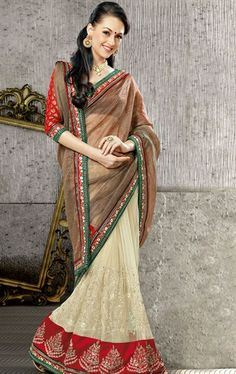 Picture of Appealing Chikoo and Cream Indian Wedding Saree Online