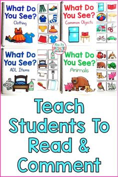 Target reading and commenting with this interactive book set. These adapted books are designed for students with autism, special education classrooms, speech therapy, self-contained classes and life skills programs.