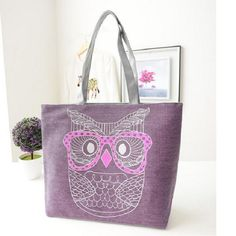 2015 Hot Canvas Cartoon Owl Bag Designer Retro Women Handbags High Quality Tote Shoulder Bag Shopping Bags Female