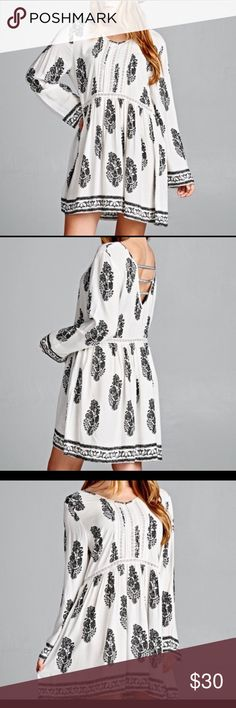 """BOBO LEAF TUNIC OR MINI DRESS Beautiful tunic or dress with full sleeves as back slot opening. Pretty black leaf print on white. Decorative tapes back detail. Cotton.  Bust:48"""" Length 38"""" Dresses"""