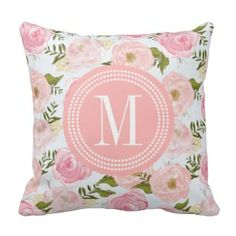 Pink Floral Pillows | Pretty Throw Pillows |  Pink Peony Monogram Throw Pillow
