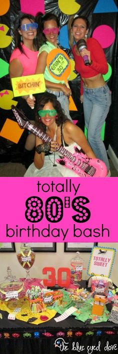 Themed Birthday Bash A totally awesome themed birthday party! A totally awesome themed birthday party! 80s Birthday Parties, 80th Birthday, Themed Parties, Birthday Ideas, Birthday Recipes, Cindy Lauper 80s, Decade Party, Skate Party, Glow Party