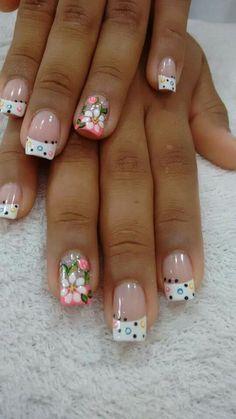 Glamorous Flower Nail Art Designs for Summer Fancy Nails, Cute Nails, Pretty Nails, Fingernail Designs, Toe Nail Designs, Nails Design, Fabulous Nails, Gorgeous Nails, Spring Nails