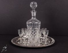 TheCordialMagpie on Etsy: Vintage Barware Set: 8 Cordial/Sherry/Liquor Glasses Crystal Decanter with Ball Stopper and Oneida Silver Plate Tray with Pierced Sides