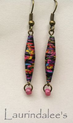 Black multicolor handcrafted paper bead earrings by Laurindalees, $15.00