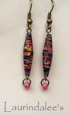 Black multicolor handcrafted paper bead earrings by Laurindalees, $15.00