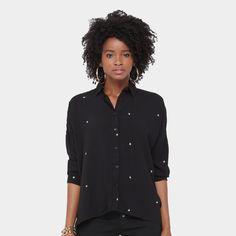 Camisa Lily Fashion Bordada Feminina - Preto