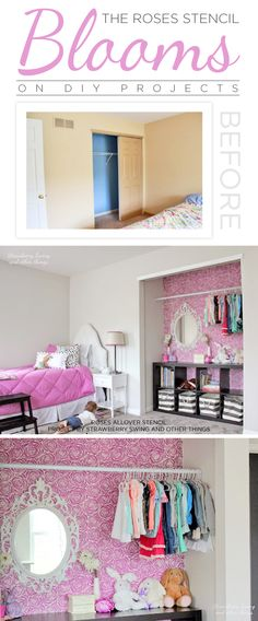 A DIY pink stenciled closet using the Roses Allover Stencil. http://www.cuttingedgestencils.com/roses-stencil-pattern-rose-design.html