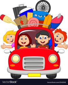 Illustration of Cartoon Family traveling with car vector art, clipart and stock vectors.