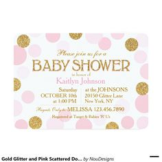Gold Glitter and Pink Scattered Dots Baby Shower 5x7 Paper Invitation Card
