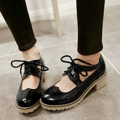 Fashion Rome Vintage Bullock Cutout Carved Lacing Thick Heels Oxfords Shoes Pumps For Women Black Beige Mary Jane Casual Shoes for just US $53.79