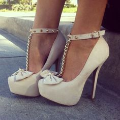 This Pin was discovered by GoJane. Discover (and save!) your own Pins on Pinterest. | See more about spiked heels, white bows and white high heels.