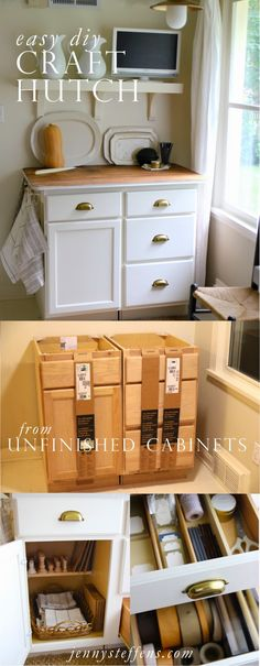 Easy DIY Craft Hutch | $200 Weekend Project    So easy - made from unfinished @HomeDepot cabinets.