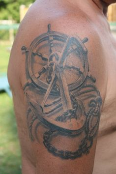 Anchor and Boat Wheel