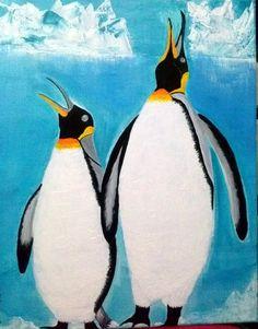 Penguin Art, Penguins Singing, Antarctic Twittering, Original Penguin Art, Penguin Fun, Acrylic Art,