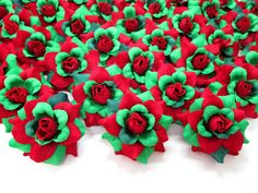 (100) Silk Christmas Roses Red Green Flower Heads - 1.75' - Artificial Flowers Heads Fabric Floral Supplies Wholesale Lot for Wedding Flowers Accessories Make Bridal Hair Clips Headbands Dress >>> Visit the image link more details.