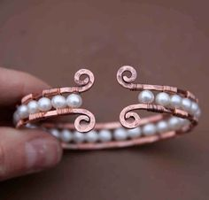 Copper and Pearl Cuff Bracelet..i love this, but i'd love it more in a ring!
