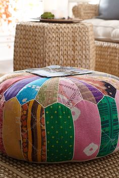 Here's the global version of your grandmother's quilt. Instead of raiding her supply of remnants, Indian artisans have used textiles and sari fabrics to create a colorful, cotton patchwork cover for Pier comfy pouf--a perfect addition in a boho-themed Fabric Remnants, Pouf Ottoman, Patch Quilt, Floor Cushions, Diy Pillows, Room Themes, Sewing Projects, Sewing Tips, Diy Projects