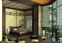 Japanese bedroom colors - yellow, brown, green. Straight lines, bamboo, and faux paper walls