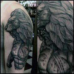 Mens Lion Mythological Hercules Tattoo On Upper Arm