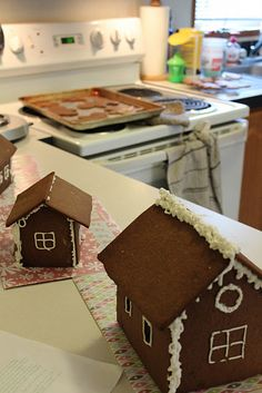 Gingerbread houses w/ homemade gingerbread.