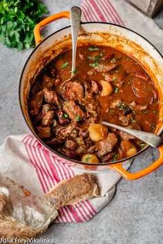 This Russian Sweet and Sour Beef stew is a meat lover's heaven. It's made with beef, smoked kielbasa sausage, bacon, mushrooms and more! Extremely satisfying and practically cooks itself.