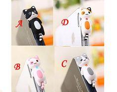 4 Colors Cute Pink Sleeping Cat Kitten Kitty Dust Plug 3.5mm Phone Plug iPhone 4 4S 5 5S Dust Plug Samsung Charm Headphone Jack Ear Cap