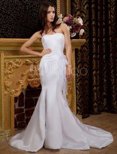 White Strapless Mermaid Trumpet Bow Satin Organza Wedding Dress - Milanoo.com - $177.99