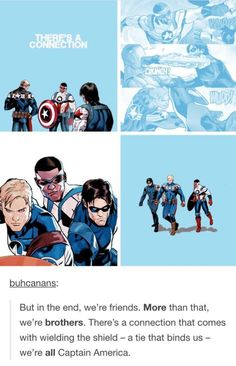 Steve, Sam, and Bucky are all Captain America.  I really like that.