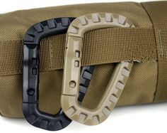 Can be attached to any molle webbing for adding lanyards or other accessories. D-ring Carabiner.