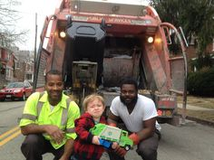 """Quincy's been waiting all week to show the garbage men his garbage truck. But in the moment, he was overwhelmed in the presence of his heroes."" (via source)"