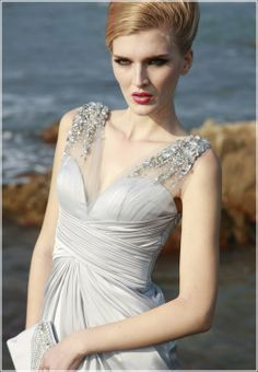 osell wholesale dropship Satin Ruffle Beading V Neck Floor Length Prom Cocktail Dress $98.84