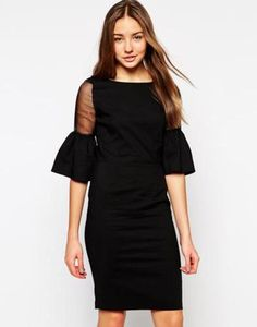 paper dolls dress with sheer trumpet sleeves  black #dress #revealing #covetme