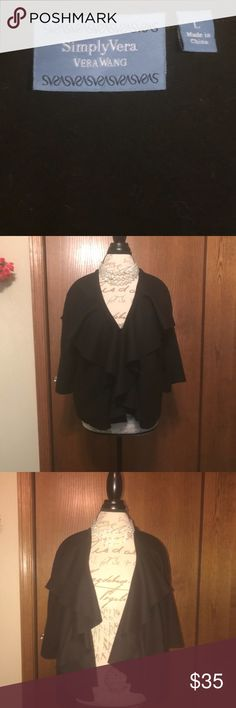 Vera Wang waterfall jacket. Vera Wang Black Waterfall Jacket. EUC Only wore a couple of times. Cleaning my personal closet. Will fit size 10-12 depending on your fit preference. Sassy with Jeans and heels!  Will consider all reasonable offers😘 Vera Wang Jackets & Coats Blazers