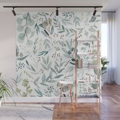 Modern vintage black rose gold watercolor floral Wall Mural by pink_water Pattern Wall, Wall Patterns, Blush Walls, Pink Walls, Herb Wall, Gold Watercolor, Pastel Pattern, D House, Floral Wall