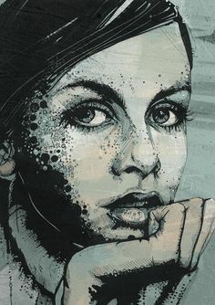 Russ Mills- The proportions of this woman have been done correctly. Cross hatching has been used as the style with a few type of patterns incorporated with the style as well, A darkish tone alludes the illustration.